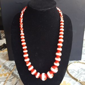 Vintage Red & White Chunky Ball Necklace